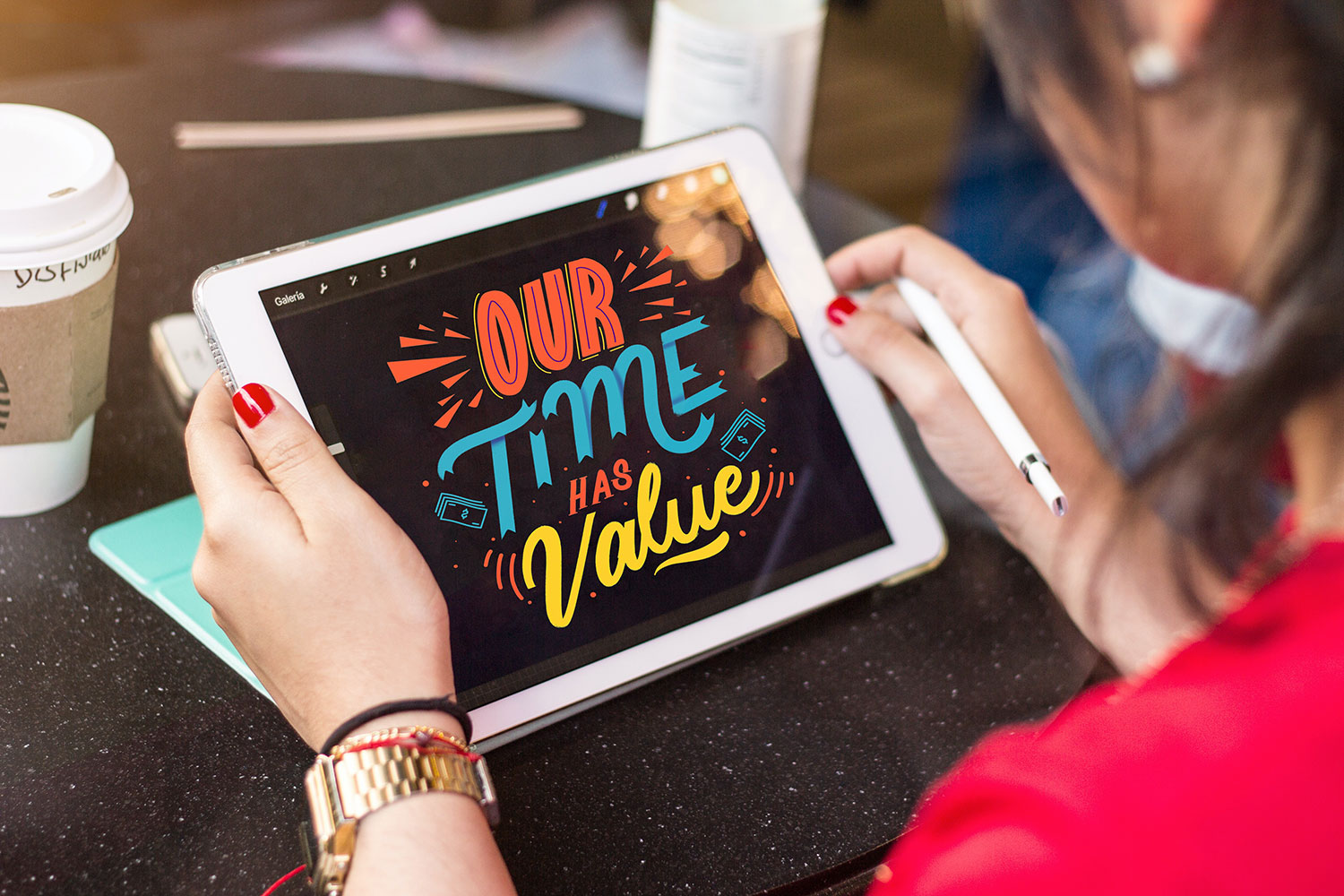 Our time has value lettering op iPad
